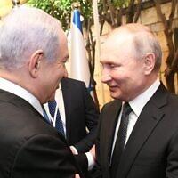 Prime Minister Benjamin Netanyahu (left) meets Russian President Vladimir Putin at the Prime Minister's Residence, Jerualem, 23 January, 2020. (Amos Ben Gershon/GPO)