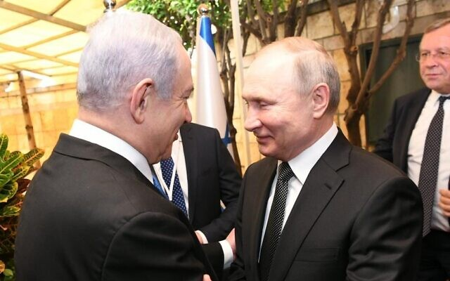 Prime Minister Benjamin Netanyahu meets Russian President Vladimir Putin at the Prime Minister's Residence, Jerualem, 23 January, 2020 (Amos Ben Gershon/GPO)