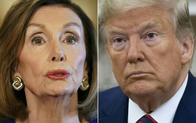This file combination of pictures created on September 24, 2019 shows US Speaker of the House Nancy Pelosi, left, a California Democrat, on September 24, 2019 and US President Donald Trump in Washington, DC, September 20, 2019. (Mandel Ngan and Saul Loeb/AFP)