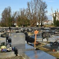 A picture taken on January 7, 2020, shows a general view of the Jewish cemetery of Bayonne, southwestern France, where a dozen graves were desecrated a few days prior. (GAIZKA IROZ / AFP)