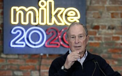Democratic presidential hopeful Michael Bloomberg speaks during the opening of a campaign office at Eastern Market in Detroit, Michigan, December 21, 2019 2020. (Jeff Kowalsky/AFP)