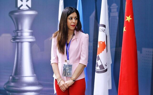Shohreh Bayat, chief arbiter for the match between Aleksandra Goryachkina of Russia and Ju Wenjun of China, is seen before the match during the 2020 International Chess Federation (FIDE) Women's World Chess Championship in Shanghai on January 11, 2020. (Stringer/AFP)