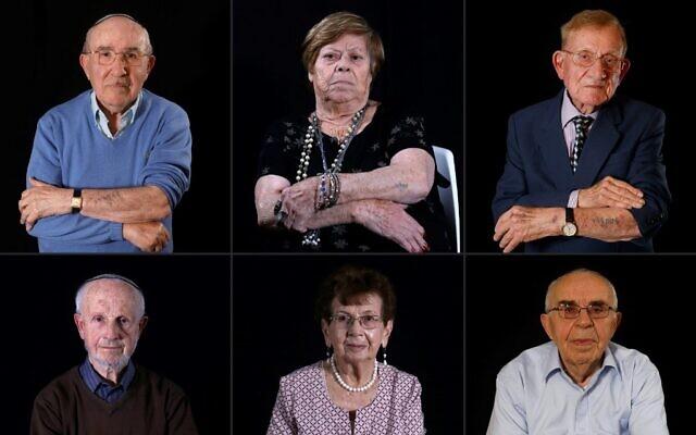 This combination of pictures created on January 11, 2020 shows (Top L to R) Holocaust survivors Szmul Icek, Malka Zaken, 91, Shmuel Blumenfeld, 94, (bottom L to R) Saul Oren, Batcheva Dagan, and Menahem Haberman, 92 (MENAHEM KAHANA / AFP)