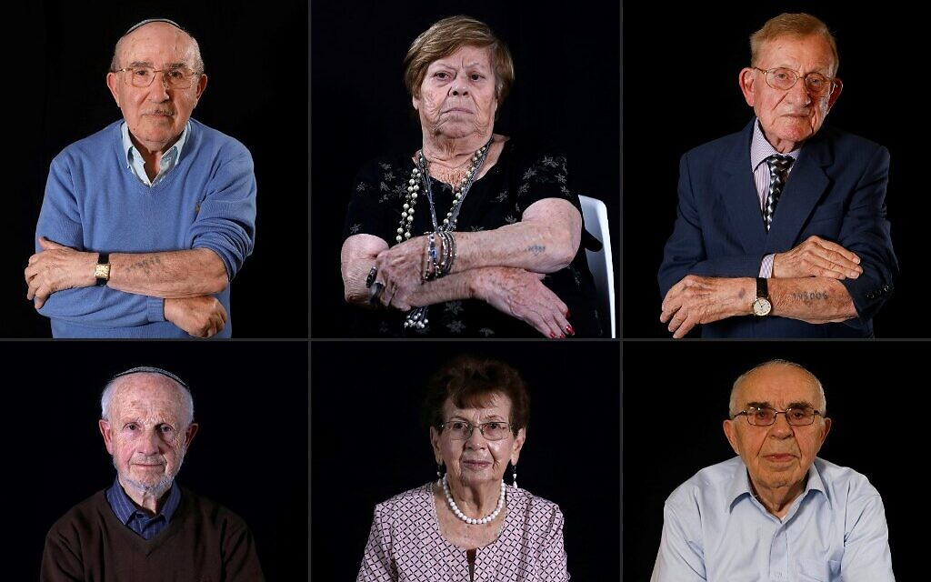 This combination of pictures created on January 11, 2020 shows (Top L to R) Holocaust survivors Szmul Icek, Malka Zaken, 91, Shmuel Blumenfeld, 94, (bottom L to R) Saul Oren, Batcheva Dagan, and Menahem Haberman, 92 (MENAHEM KAHANA / AFP)