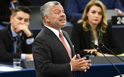 Jordanian King Abdullah II delivers a speech at the European Parliament, on January 15, 2020, in Strasbourg, eastern France. (Photo by Frederick FLORIN / AFP)