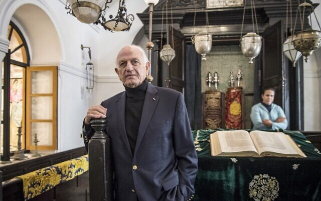 Andre Azoulay, adviser to the Moroccan king, poses for a picture at the 'Bayt Dakira' (House of Memory) Jewish museum, in Morocco's Atlantic coastal city of Essaouira on December 14, 2019 (FADEL SENNA / AFP)