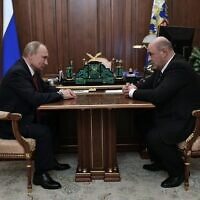 Russian President Vladimir Putin meets with Russia's Tax Service chief Mikhail Mishustin in Moscow on January 15, 2020. (Alexey Nikolsky/Sputnik/AFP)