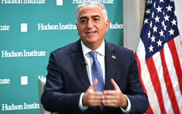 Reza Pahlavi, former Crown Prince of Iran, speaks about current events in Iran at the Hudson Institute in Washington, DC on January 15, 2020. (EVA HAMBACH/AFP)