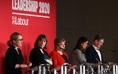 (L-R) British Labour leadership candidates, Rebecca Long-Bailey, Jess Phillips, Emily Thornberry, Lisa Nandy and Keir Starmer are seen on stage during the Leader hustings event in Liverpool, England, on January 18, 2020. (Paul Ellis/AFP)