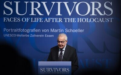 """Holocaust survivor Naftali Fuerst speaks at the opening of the exhibition """"Survivors - Faces of Life after the Holocaust"""" by German photographer Martin Schoeller on Holocaust survivors at the Ruhr Museum in Essen, Germany on January 21, 2020. (Photo by INA FASSBENDER / AFP)"""