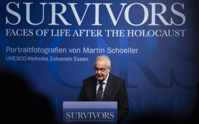 "Holocaust survivor Naftali Fuerst speaks at the opening of the exhibition ""Survivors - Faces of Life after the Holocaust"" by German photographer Martin Schoeller on Holocaust survivors at the Ruhr Museum in Essen, Germany on January 21, 2020. (Photo by INA FASSBENDER / AFP)"