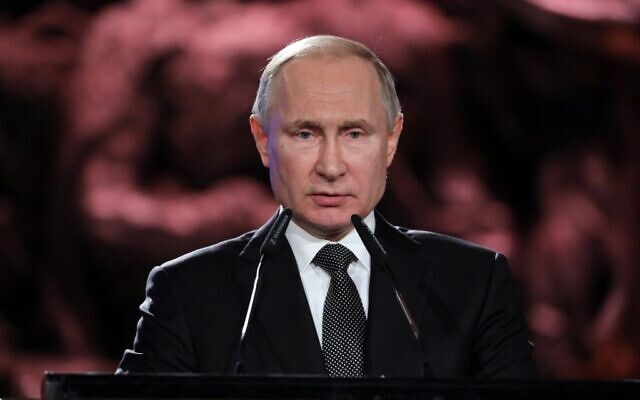 Russian President Vladimir Putin delivers a speech during the Fifth World Holocaust Forum at the Yad Vashem Holocaust memorial museum in Jerusalem on January 23, 2020. (Abir SULTAN / POOL / AFP)