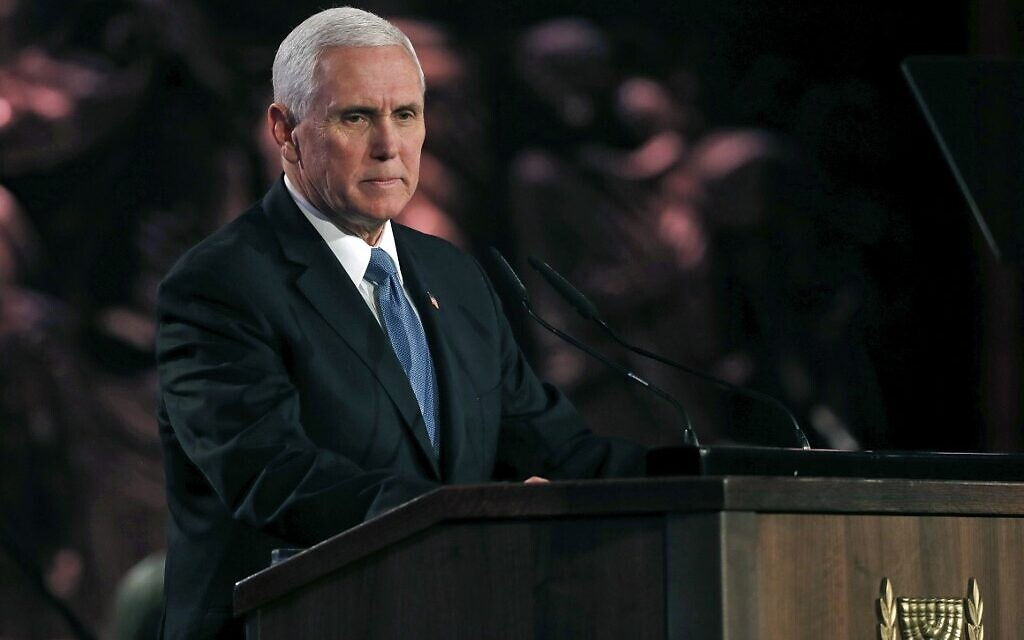 US Vice President Mike Pence delivers a speech during the Fifth World Holocaust Forum at the Yad Vashem Holocaust memorial museum in Jerusalem on January 23, 2020. (Ronen Zvulun/Pool/AFP)
