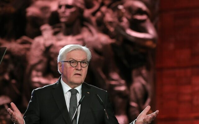 German President Frank-Walter Steinmeier delivers a speech during the Fifth World Holocaust Forum at the Yad Vashem Holocaust memorial museum in Jerusalem on January 23, 2020. (ABIR SULTAN / POOL / AFP)