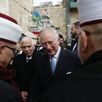 Britain's Prince Charles meets with Palestinian Muslim clerics outside Bethlehem's Omar Ben al-Khattab mosque on January 24, 2020. (Hazem BADER / AFP)