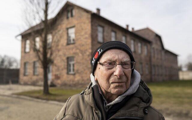 Holocaust survivor and former prisoner of the Nazi death camp Auschwitz-Birkenau, Johnny (Ephroim) Jablon, is seen in Oswiecim on January 26, 2020, one day before the 75th anniversary of its liberation. (Wojtek Radwanski/AFP)