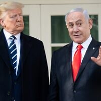 US President Donald Trump and Israeli Prime Minister Benjamin Netanyahu speak to the press on the West Wing Colonnade prior to meetings at the White House in Washington, DC, January 27, 2020. (SAUL LOEB / AFP)