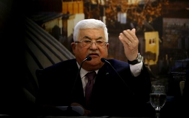 Palestinian Authority President Mahmoud Abbas delivers a speech in the West Bank city of Ramallah on January 28, 2020. (Abbas Momani/AFP)