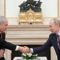 Russian President Vladimir Putin meets with Prime Minister Benjamin Netanyahu at the Kremlin in Moscow on January 30, 2020. (MAXIM SHEMETOV / POOL / AFP)