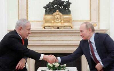 Russian President Vladimir Putin meets with Prime Minister Benjamin Netanyahu at the Kremlin in Moscow on January 30, 2020. (MAXIM SHEMETOV / POOL / AFP)