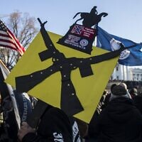 Gun rights advocates attend a rally organized by The Virginia Citizens Defense League on Capitol Square near the state capitol building in Richmond, Virginia, on January 20, 2020. (Zach Gibson/Getty Images/AFP