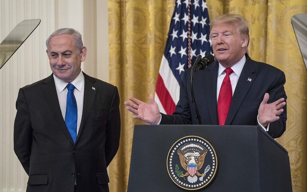 US President Donald Trump and Prime Minister Benjamin Netanyahu at a press conference in the East Room of the White House on January 28, 2020, in Washington. (Sarah Silbiger/Getty Images/AFP)