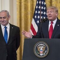 US President Donald Trump and Israeli Prime Minister Benjamin Netanyahu participate in a joint statement in the East Room of the White House, in Washington, DC, on January 28, 2020. (Sarah Silbiger/Getty Images/AFP)