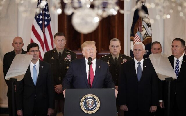 US President Donald Trump speaks from the White House on January 8, 2020 in Washington, DC. (Win McNamee/Getty Images/AFP)