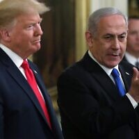 US President Donald Trump and Prime Minister Benjamin Netanyahu (R) attend a press conference in the East Room of the White House on January 28, 2020. (Alex Wong/Getty Images/AFP)