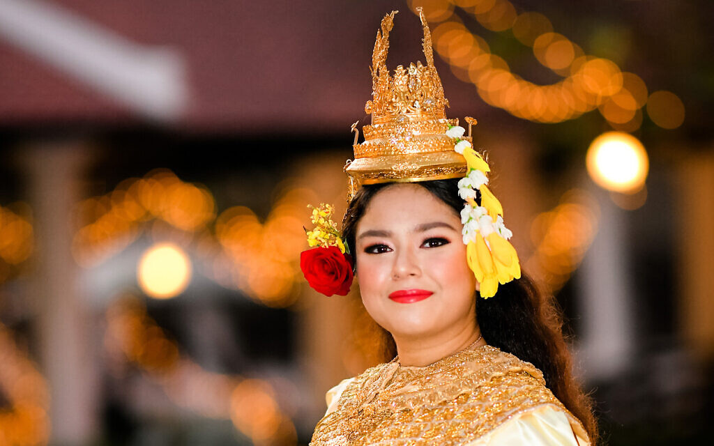 Elior Koroghli wears a traditional Cambodian costume at her bat mitzvah party in Phnom Penh. (Kang Predi and Teh Ranie via JTA)