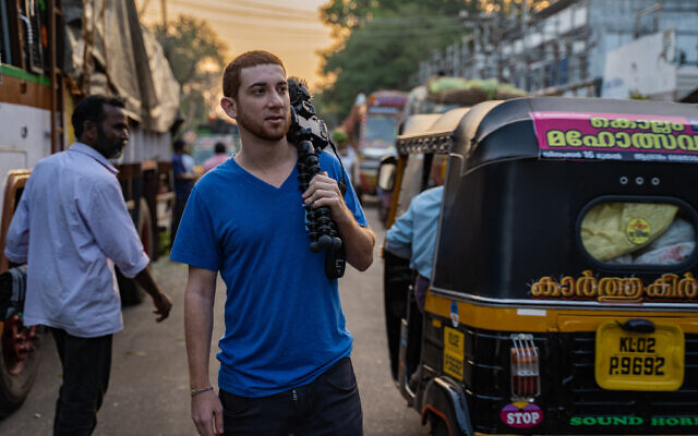 Drew 'Binsky' Goldberg, seen here in Kerala, India, makes a living traveling the world and posting about it on social media. (Courtesy of Goldberg/ via JTA)