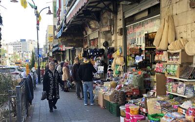 People on a street in Ramallah, Jan. 30. 2020. (Sam Sokol)