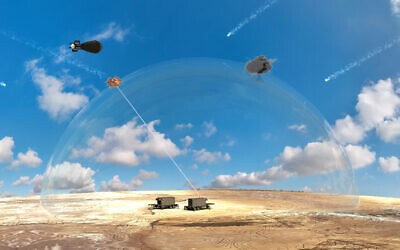 A computer-generated mockup of a proposed laser-based air defense system being developed by Israel's Defense Ministry, on January 8, 2020. (Defense Ministry)
