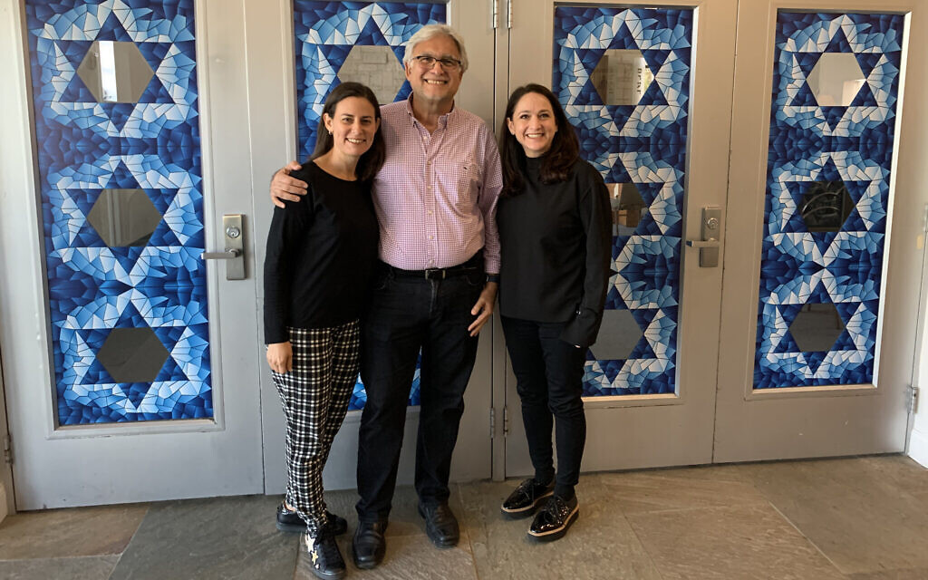 From left to right, Jackeline Nichols, David Bassan and Dana Nicolaievsky are all members of Skylake Synagogue, which has a large Venezuelan population. (Josefin Dolsten/ JTA)