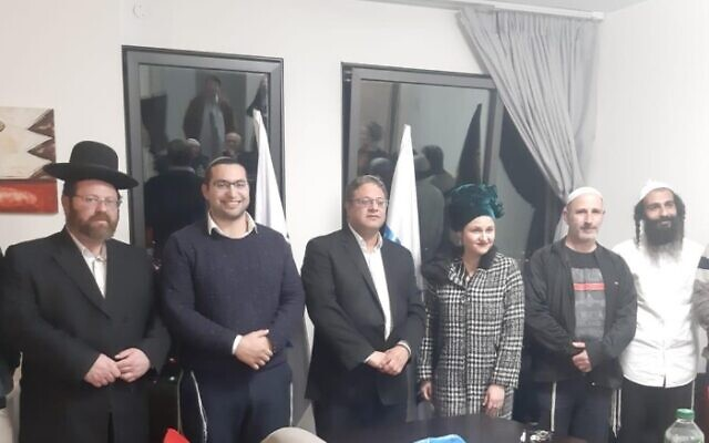 Otzma Yehudit candidates (From L-R) Tiran Zeituni, Meir Ben Hayun, Adva Biton, chairman Itamar Ben Gvir, Itshak Waserlauf and Yehuda Epstein pose for a photo after the party announces its slate from January 5, 2019. (Courtesy)
