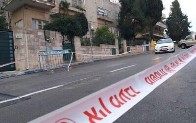 A blocked road in downtown Jerusalem, January 23, 2020. (Joshua Davidovich/Times of Israel)