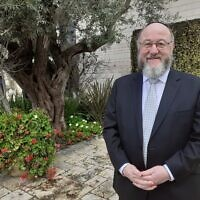 UK Chief Rabbi Ephraim Mirvis at the President's Residence in Jerusalem, January 23, 2020 (Raphael Ahren/TOI)