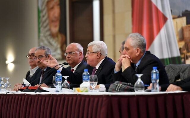 Palestinian Authority President Mahmoud Abbas speaking to Palestinian officials in Ramallah on January 28, 2020. (Credit: Wafa)