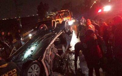 The scene of a deadly crash near Kfar Sava on January 18, 2020. (Courtesy: MDA)