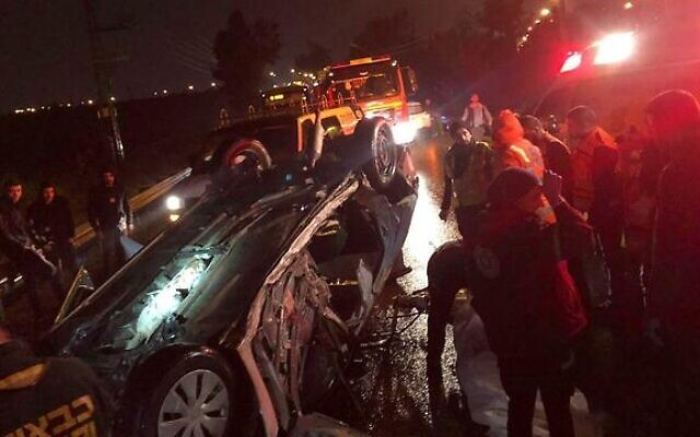 The scene of a deadly crash near Kfar Sava on January 18, 2020. (Courtesy: MDA)