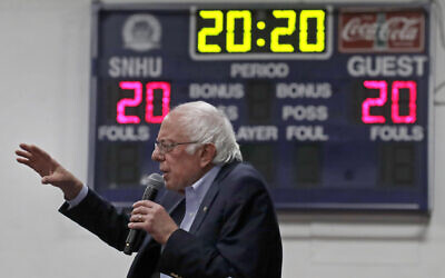 Senator Bernie Sanders of Vermont, a Democratic presidential candidate, speaks at a campaign event in Manchester, New Hampshire, Dec. 13, 2019. (AP Photo/Elise Amendola)