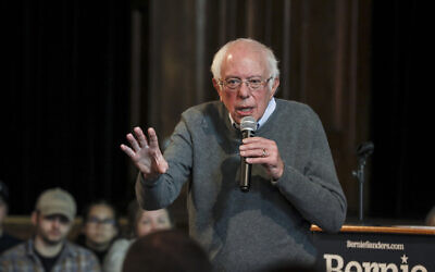 In this December 29, 2019, file photo, US Democratic presidential candidate Sen. Bernie Sanders speaks at a Newport Town Hall Breakfast at the Newport Opera House in Newport, New Hampshire. (AP Photo/Cheryl Senter, File)
