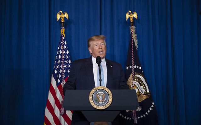 US President Donald Trump delivers remarks on Iran, at his Mar-a-Lago property, Friday, Jan. 3, 2020, in Palm Beach, Fla. (AP Photo/ Evan Vucci)