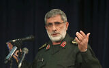 "In this Nov. 5, 2016 photo, Gen. Esmail Ghaani speaks in a meeting in Tehran, Iran. A new Iranian general has stepped out of the shadows to lead the country's expeditionary Quds Force, becoming responsible for Tehran's proxies across the Mideast as the Islamic Republic threatens the US with ""harsh revenge"" for killing its previous head, Qassem Soleimani. (Mohammad Ali Marizad/Tasnim News Agency via AP)"
