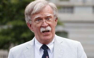 In this July 31, 2019 file photo, then National security adviser John Bolton speaks to media at the White House in Washington. (AP Photo/Carolyn Kaster)
