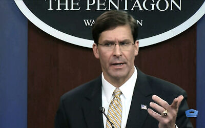 Screen capture from video of US Secretary of Defense Mark Esper talking to the press on Iran and Iraq, at the Pentagon in Washington, January 7, 2020. (divids via AP)
