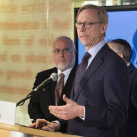 Brian Hook, a US special representative on Iran, takes questions from the media at the Simon Wiesenthal Center in Los Angeles, January 7, 2020. (AP Photo/Damian Dovarganes)