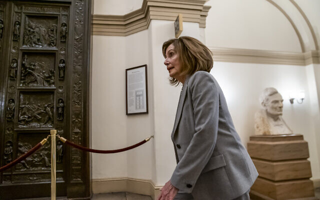 Speaker of the House Nancy Pelosi, D-Calif., arrives at the Capitol in Washington, Friday, Jan. 10, 2020. (AP Photo/J. Scott Applewhite)