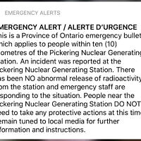 "An emergency alert issued by the Canadian province of Ontario reporting an unspecified ""incident"" at a nuclear plant is shown on a smartphone Sunday, Jan. 12, 2020. Ontario Power Generation later sent a message saying the alert ""was sent in error."" (Graeme Roy/The Canadian Press via AP)"