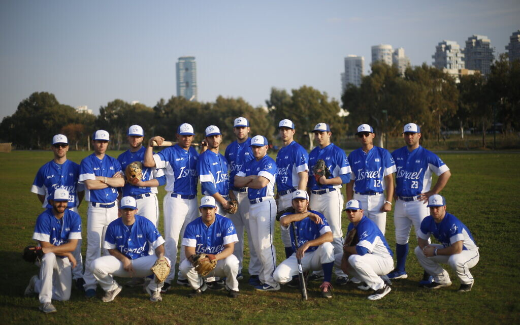 Israel's national baseball team at a team practice in Tel Aviv, January 14, 2020. (AP Photo/Ariel Schalit)